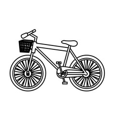 monochrome silhouette with sport bike with basket vector image vector image