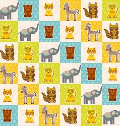 Set of funny animals bear cat raccoon zebra tiger vector image vector image
