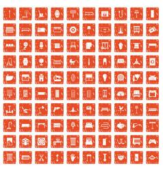 100 furnishing icons set grunge orange vector