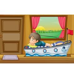 A sad little boy inside the house vector