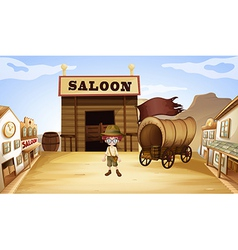 A young boy in front of a saloon bar vector