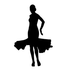 Back woman dancer in ball gown vector