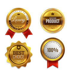 badges gold seal quality labels sale and vector image