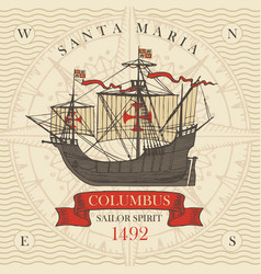 banner with vintage sailing yacht columbus vector image