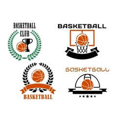 Basketball club emblems and symbols templates vector image