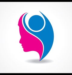 Beautiful woman silhouette with welcoming person vector image