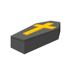 Black coffin isometric 3d icon vector
