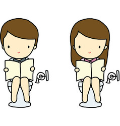 Boy and Girl in toilet vector