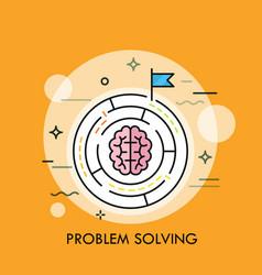 brain symbol placed inside circular maze concept vector image