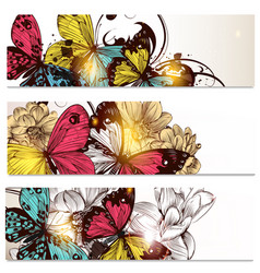 Business cards set with butterflies and flowers vector