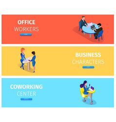 businesspeople at working situations banner set vector image