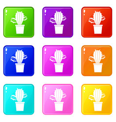 Cactus houseplants in pot icons 9 set vector