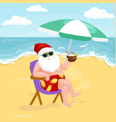 Cartoon image of santa claus in swimsuit sitting vector