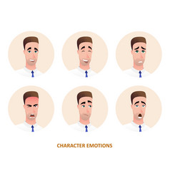Character avatars emotions in circle vector