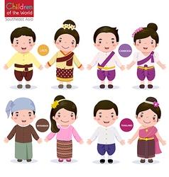 children world laos cambodia myanmar and vector image