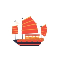 Chines Junk Boat With Red Sail Simplified Icon vector