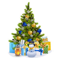 Christmas fir tree with blue decorations vector