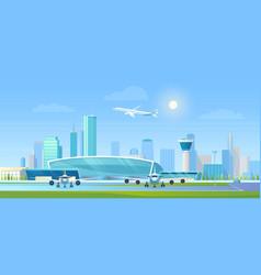 city airport cartoon flat vector image