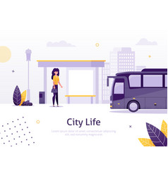 city life with girl standing in bus stop banner vector image