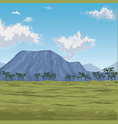 Color scene african landscape with mountains and vector