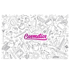 Cosmetics doodle set with lettering vector image