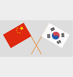 Crossed flags south korea and china vector