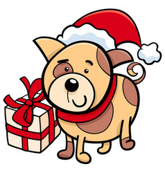 cute puppy on christmas cartoon vector image