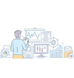 data analysis - modern line design style vector image