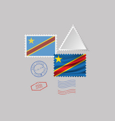 Democratic republic congo flag postage vector