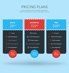 Design Template for Pricing Table in Flat Design vector
