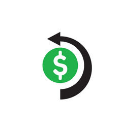 dollar money and arrow - concept icon design cash vector image