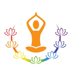 Emblem Yoga pose with chakra lotuses isolated on vector image
