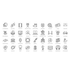 entertainment - outline web icon collection vector image