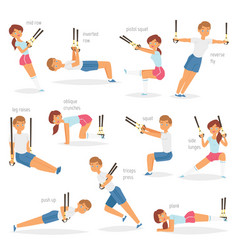 Fitness trx exercises sportsman character vector