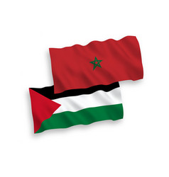 Flags morocco and palestine on a white vector