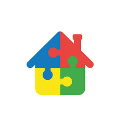 flat design concept of house shape puzzle pieces vector image