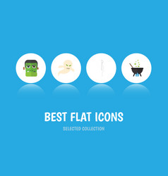flat icon celebrate set of monster magic ghost vector image