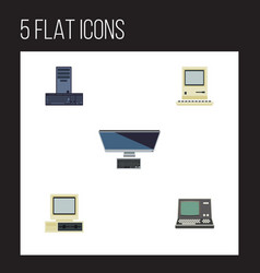 Flat icon computer set of pc computer computing vector