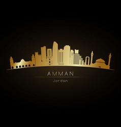 Golden logo amman city skyline silhouette vector