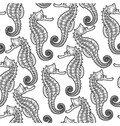 Graphic Leafy Seadragon seamless pattern vector image