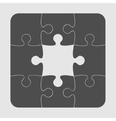 Grey Puzzles Pieces JigSawI Icon Symbol - 9 vector