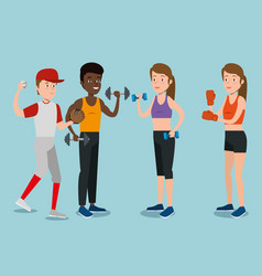 group of athletes practicing sport vector image