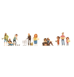 Groups Of Homeless people Set vector