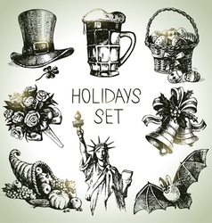 Hand drawn Holidays set vector image