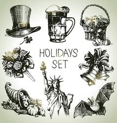 Hand drawn holidays set vector
