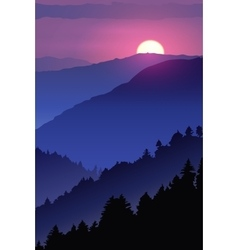 Hand-drawn night poster wildlife Winter sunset in vector
