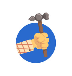 hand holding hammer technical service repairs vector image