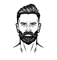 Handdrawn man head with beard and pompadour vector