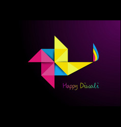 Happy diwali celebration in origami style graphic vector