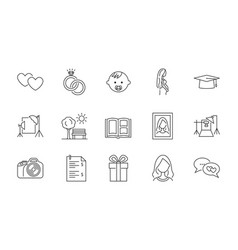 Icons various types photo shoots can vector